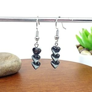 Hematite 3 Heart Beaded Dangle Earrings
